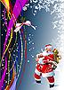 Vector clipart: Blue Christmas card with Santa Claus