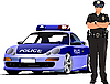 Vector clipart: Police woman standing near police car