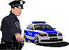Vector clipart: Police woman standing near police car.