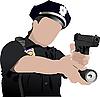Vektor Cliparts: Police Woman freuen