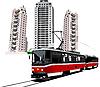 Векторный клипарт: Общежитие и трамвай.