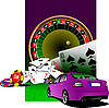 Vector clipart: Casino and car