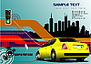high-tech poster with yellow car