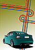 Vector clipart: blue-green car