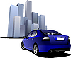 Vector clipart: blue car in the town