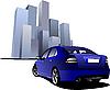 Векторный клипарт: синий автомобиль в городе