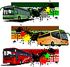 Three grunge banners with city bus