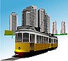 Векторный клипарт: Общежитие и редкость трамвай.