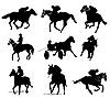 Silhouetten von Reitern