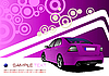 Vector clipart: Purple design with car