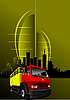 Vector clipart: urban modern composition with red-yellow truck