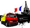Векторный клипарт: Парижем образ, Франции флаг и красно-желтый