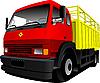 Векторный клипарт: красно-желтый грузовик