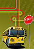 Yellow school bus and city junction.