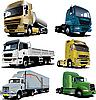 Векторный клипарт: Шесть грузовиков.