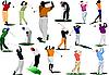 Векторный клипарт: Шестнадцать игроков в гольф удара мяч с железом клуб.