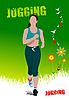 Векторный клипарт: Зеленый плаката летом бег женщины.
