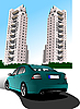 Vector clipart: car and buildings