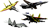 Four military aircrafts | Stock Illustration
