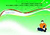Векторный клипарт: Зеленый фон с линиями и мальчиком