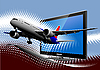 Vektor Cliparts: Linienflugzeug aus dem Monitor