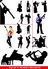 Set of musicians silhouettes. Orcestra