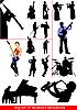 Векторный клипарт: набор музыкантов силуэты. Оркестра