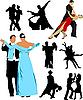 Векторный клипарт: Силуэт танцующих для дизайна.