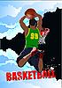Vektor Cliparts: Plakat mit Basketball-Spieler