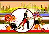 Векторный клипарт: Grunge музыкальный фон с танцами пары.