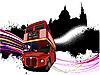 Vektor Cliparts: London - Grunge-Poster mit Doppeldecker-Bus