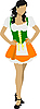 Vector clipart: Beautiful brunette in green dress