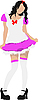 Vector clipart: Beautiful brunette in pink-white dress