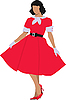 Vector clipart: Beautiful brunette in red dress