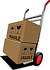 Vector clipart: Boxes on hand pallet truck