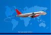 passenger airplane and world map