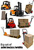 Vector clipart: Set of Forklifts and pallet trucks