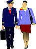 Pilot und Stewardess
