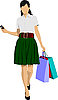 Cute shopping lady with bags