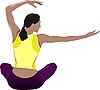 Frau tut Joga-Übungen
