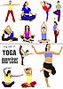 Векторный клипарт: Большой набор упражнений йоги - сайт