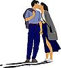Векторный клипарт: Целующиеся пары