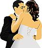 Векторный клипарт: Целующиеся пары. Жених и невеста.