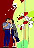 Векторный клипарт: Цветок с поцелуя пары.