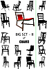 Векторный клипарт: Большой набор силуэтов дома стул.