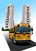 Векторный клипарт: Общежитие и школьный автобус.