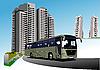 Векторный клипарт: Общежитие и автобусов.