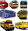 Vector clipart: Seven city buses