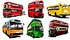 Vector clipart: Six city buses