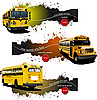 Three grunge banners with Yellow school buses